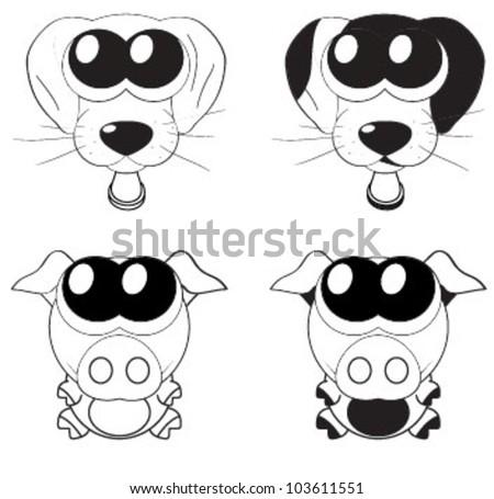 Cute Cartoon Pig Dog Big Eyes Stock Vector 103611551 ...