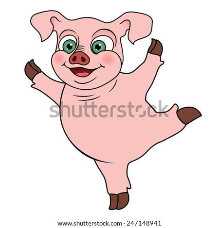 Cute cartoon pig, vector illustration