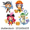 Cute cartoon pirates Set 2 - stock vector