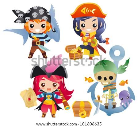 Cute cartoon pirates Set 2 - stock vector