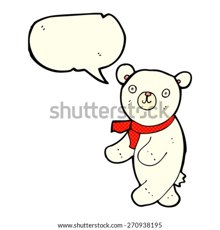cute cartoon polar teddy bear with speech bubble - stock vector
