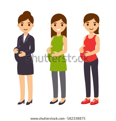 Cute cartoon pregnant woman set. Business suit, casual clothes and fitness gear. Happy expecting mother flat vector illustration.