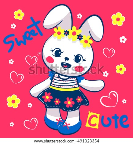 Cute Cartoon Rabbit Girl With Flowers And Hearts Around On Magenta Color Background Illustration Vector