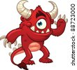 Cute cartoon red monster. Vector illustration with simple gradients. All in a single layer. - stock vector