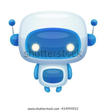 Cute Cartoon Robot - stock vector