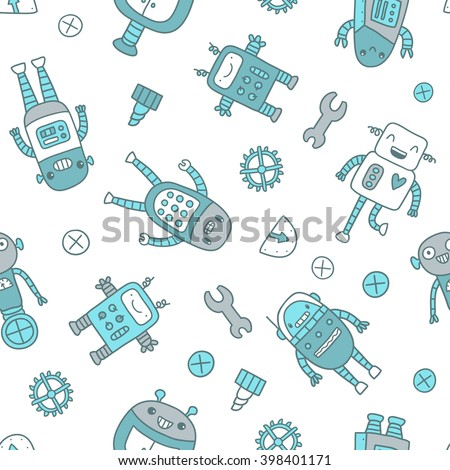 Cute cartoon robots seamless pattern for fabric textile, wrapping paper or wallpaper. - stock vector