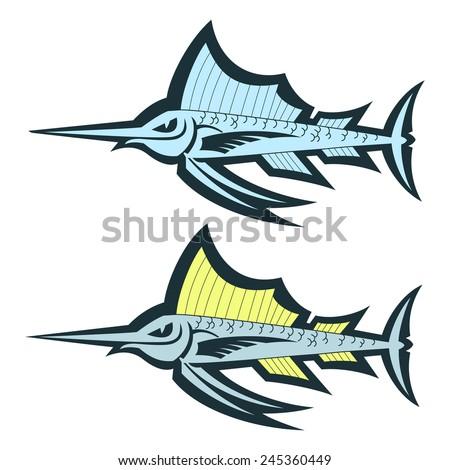 cute cartoon sailfish vector illustration - stock vector