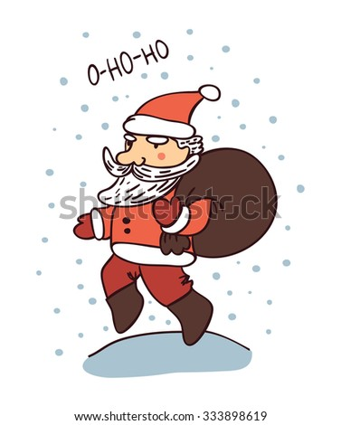 Cute cartoon Santa Claus for greeting card, invitation and design