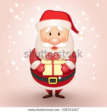 cute cartoon santa claus presents gift stock vector (2018) 338761667