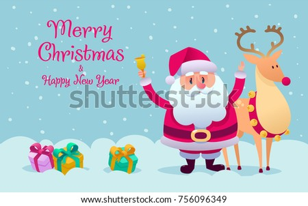 santa claus reindeer taking photo together stock vector