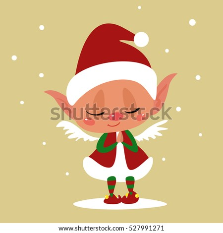 Cute Cartoon Santa's Helper with Angel Wings Praying