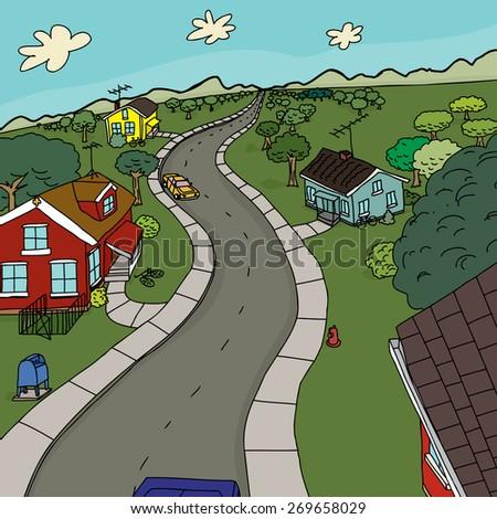 Cute cartoon scene of four houses along road - stock vector
