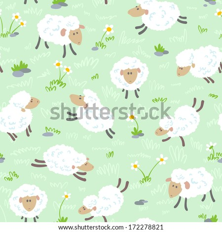 Cute cartoon seamless pattern with sheep - stock vector