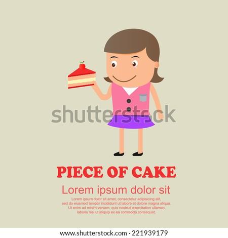 Cute cartoon set,girl and piece of cake - stock vector