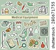 Cute cartoon set of laboratory equipments. Medical collection of hospital tools. Hand-drawn vector illustration. All objects organized in groups for easy editing. - stock vector