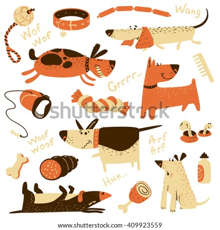 Cute cartoon set with dogs and their ammunition. Vector illustration with pets