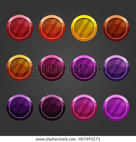Cute cartoon shiny bubbles. Vector element can be used for game design.