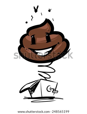 cute cartoon shit in surprise box - stock vector