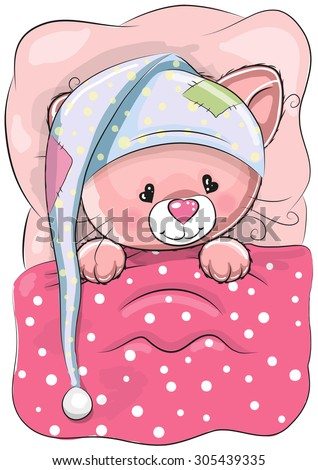 Cute Cartoon Sleeping Cat with a cap in a bed - stock vector