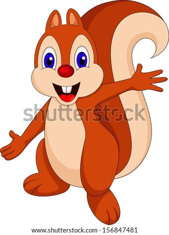 Cute Cartoon Squirrel - stock vector