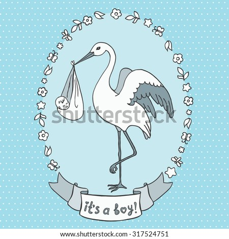 "Cute cartoon  stork carrying a baby. Child delivery. Flower, leaves and butterfly frame. ""it's a boy!"" banner. Vector illustration. - stock vector"