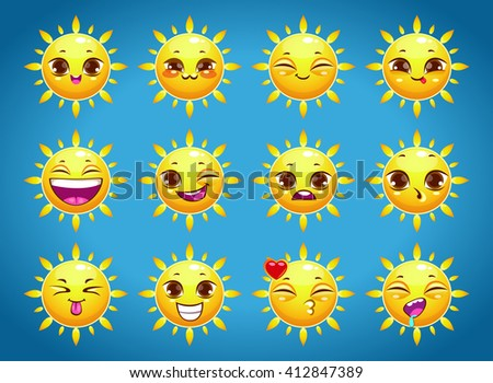 Cute cartoon sun character emotions set, summer weather icons, sun sticker face - stock vector