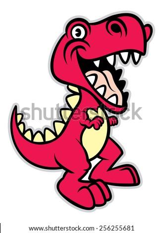 cute cartoon t-rex dinosaur - stock vector