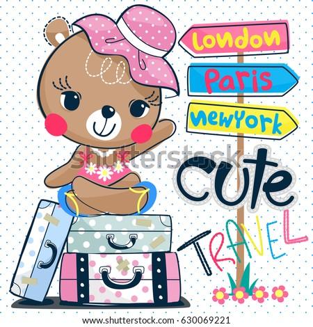 Cute Cartoon Teddy Bear Headphones On Stock Vector ...