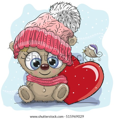 Cute Cartoon Teddy bear in a knitted cap and a heart