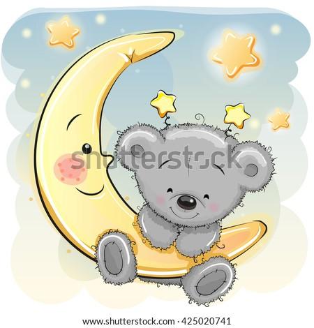 Cute Cartoon Teddy Bear on the moon - stock vector