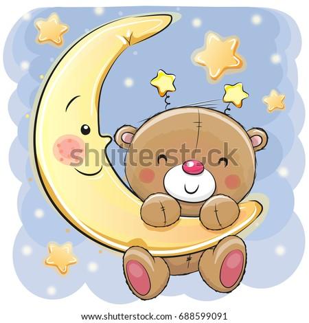 Bear and moon cartoon