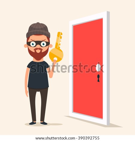 Cute Cartoon Thief Holding a Key and Standing Near the Door. Vector Illustration - stock vector
