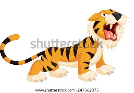 Cute cartoon tiger roaring - stock vector