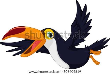 cute cartoon toucan bird flying - stock vector