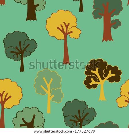 Cute cartoon tree seamless pattern  - stock vector