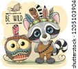 cute cartoon tribal raccoon and ...
