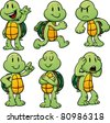 Cute cartoon turtles. Vector illustration with simple gradients. All in separate layers for easy editing. - stock vector