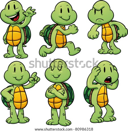 Cartoon turtles with big eyes