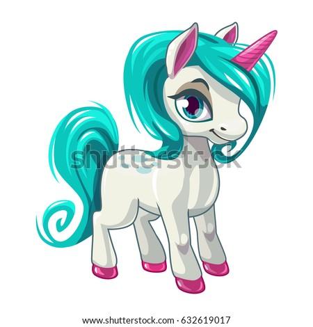 cute cartoon unicorn fantasy little beautiful stock vector