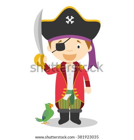 Cute cartoon vector illustration of a pirate - stock vector