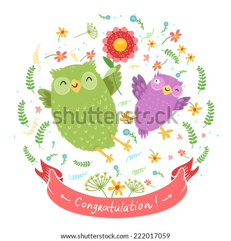 "Cute cartoon vector owls with bright flowers isolated on white. Ribbon with ""Congratulation"" wish or space for other text."