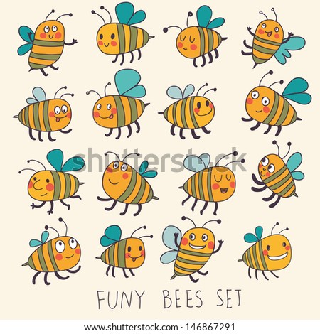 Cute cartoon vector set in bright colors. Funny bees in vector. Childish set with cute insects - stock vector