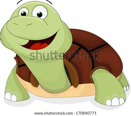 Cute cartoon vector turtle - stock vector