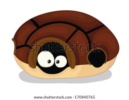 Cute cartoon vector turtle inside the shell - stock vector