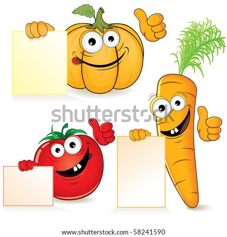 Cute cartoon vegetables with empty sign - stock vector
