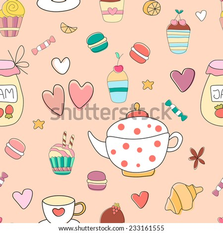 Cute cartoon vintage seamless pattern with teapot, cup, cupcakes, macaroons and other sweets in vector. Pattern can be used for surface textures, wallpaper, pattern fills, web page background.  - stock vector