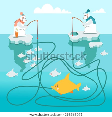 Cute cartoon visual puzzle,maze game with two polar bears fishing. Find out who is catching the gold fish.Vector illustration for children preschool education. Vector illustration