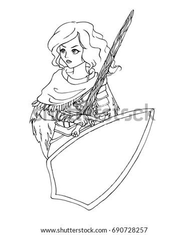 Cute Cartoon Warrior Girl Coloring Book Stock Vector (2018 ...