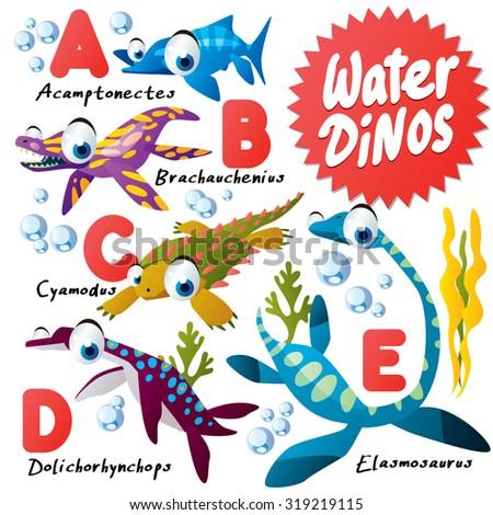 Cute Cartoon Water Dinos ABC: Omphalosaurus, Paraplacodus, Rhomaleosaurus, Shonisaurus, Temnodontosaurus, Utatsusaurus, Woolungasaurus - stock vector