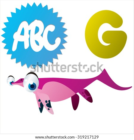 Cute cartoon Water Dinosaurs ABC: G is for Grippia - stock vector